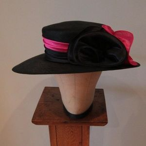 Black Straw Hat with Pink Satin Band
